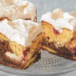 Marmorkuchen mit Kokospudding und Himbeeren